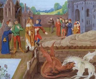 『ブリタニア列王史』における赤竜と白竜の戦い