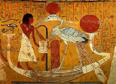 古代エジプト時代に描かれたフェニックスの元になったとされる鳥「ベンヌ」の絵