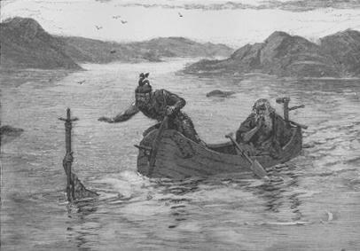 アーサー王にエクスカリバーを授ける湖の乙女アルフレッド・カップス画