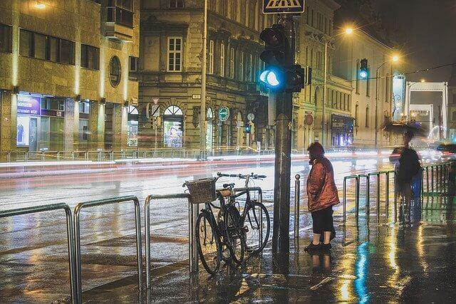 自転車で雨